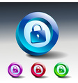 Glass icons set green lock security vector