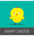 Easter chicken flat design style card vector