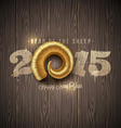 New years greeting with golden horn of a sheep vector