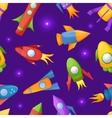 Cartoon rockets 3d seamless pattern vector