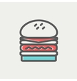 Double burger thin line icon vector