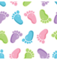 Seamless pattern of baby feet icons vector