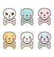 Set of kawaii skulls with different facial vector