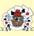Playing card and bulldog vector