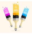 Three colorful brushes option banner vector