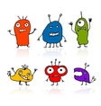 Funny aliens sketch drawing for your design vector