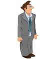 Retro hipster man standing in gray jacket and vector