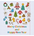 Happy new year and merry christmas set vector