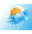 Cartoon sky cloud and sun vector