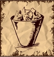 Trash bin isolated on vintage background vector