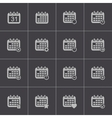 Black calendar icons set vector