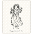 Postcard happy valentines day with the angel hand vector