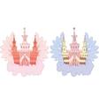 Cartoon fairy castle set vector