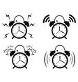 Black alarm clock icon vector