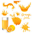 Orange juice splashes vector