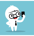 Cartoon businessman holding smartphone and selfie vector