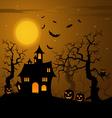 Halloween haunted castle with bats background vector