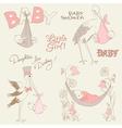 Vintage baby girl shower vector