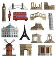 Travel landmark flat icons set vector
