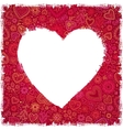 White painted heart on red ornate background vector