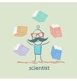 Scientist with books around vector