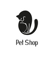 Cute pet shop logo with cat vector