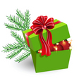 Gift box with christmas decorations vector