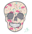 Cute skull with floral pattern vector