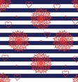 Seamless flower pattern with navy stripes vector