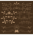Set of brown floral design elements vector