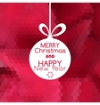 Merry christmas ball card abstract red background vector