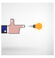Businessman hand shooting creative light bulb vector