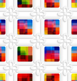 Colorful squares and white flowers seamless vector
