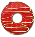Red strawberry donut vector