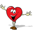 Funny heart cartoon standing with open arms vector