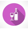 Wine bottle and a glass icon vector