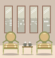 Flat design empty chairs with hot coffee cup on vector