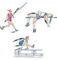 Pole vault high jump and long jump vector