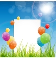 Color glossy balloons birthday card background vector