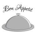 Grey tray with text bon appetit vector