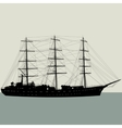Ship sailing boat silhouette isolated on white vector