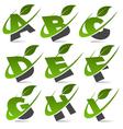 Swoosh green alphabet set1 vector