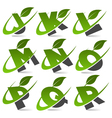 Swoosh green alphabet logo set2 vector