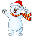 Polar bear cartoon with red hat vector