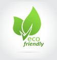 Eco friendly icon green leaves vector