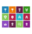 Cup and awards icons on color background vector