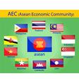 Asean flags vector