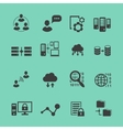 Big data analysis black icons set data vector
