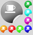 Coffee cup icon sign set of eight multi-colored vector
