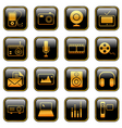 Mass media icons golden vector